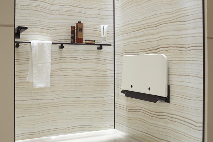 Kohler - shower shelf storage in a Choreograph shower | Innovate Building Solutions | #KohlerWallPanels #KohlerAccessories #BathroomRemodeling #BathroomProducts