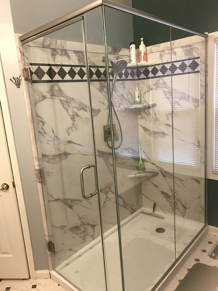 PVC composiste calcutta marble faux shower wall panels | Innovate Building Solutions | #PVCWallPanels #ShowerWallPanels #BathroomRemodel