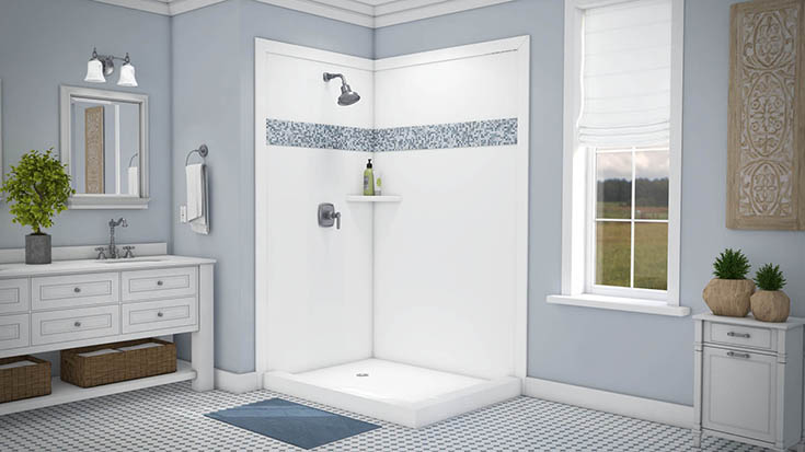 Borders with a PVC decorative wall trim in a shower | Innovate Building Solutions | #PVCDecorativePanels #WallTrim #ShowerWallpanels