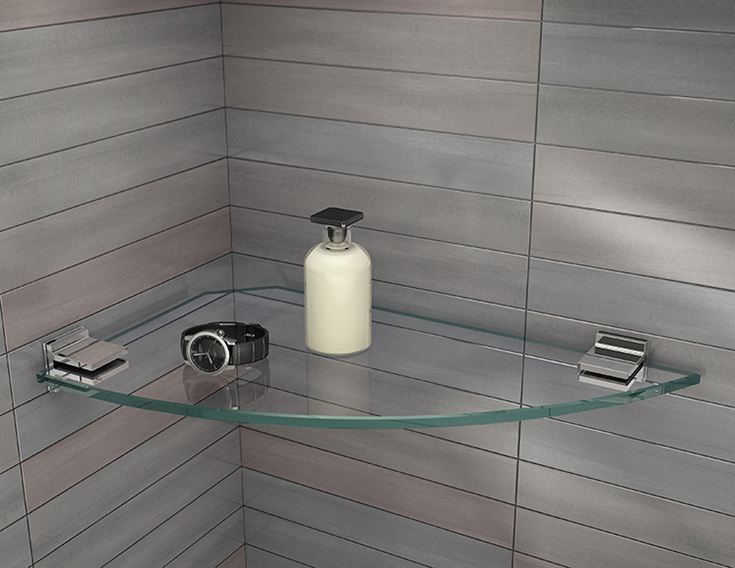 Glass flooring shelves in a bathroom | Innovate Building Solutions | #BathroomRemodeling #GlassShelves #RecessedNiche
