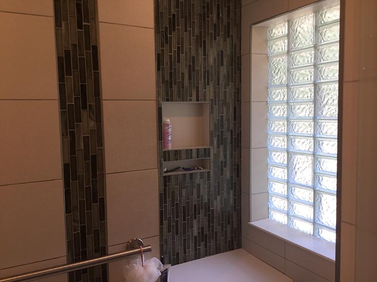 Multi pattern glass block bathroom shower window Columbus Iceberg | Innovate Building Solutions | #MultiPattern #Glassblockpattern #BathroomShower
