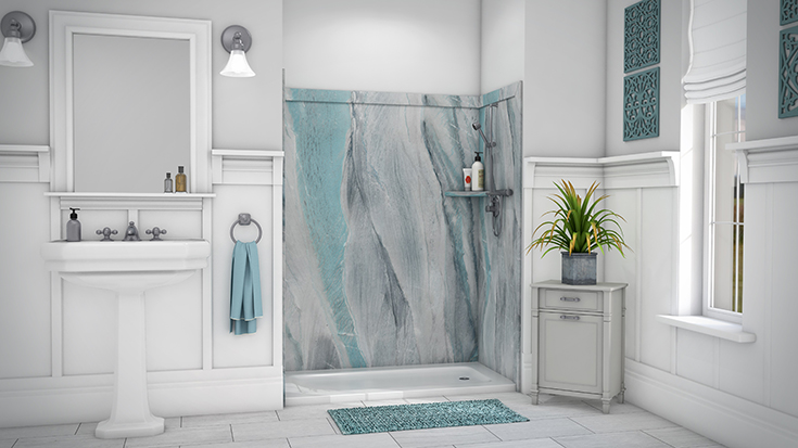 PVC bathroom and shower wall panels triton color | Innovate Building Solutions | #PVCbathroom #showerwallpanels #DIYRemodel #BathroomRemodel