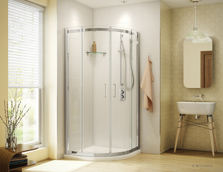 Reinforced rounded arcylic shower pan and curved glass | Innovate Building Solutions | #AcrylicShower #CurveGlass #ShowerPan #ReinforcerBase