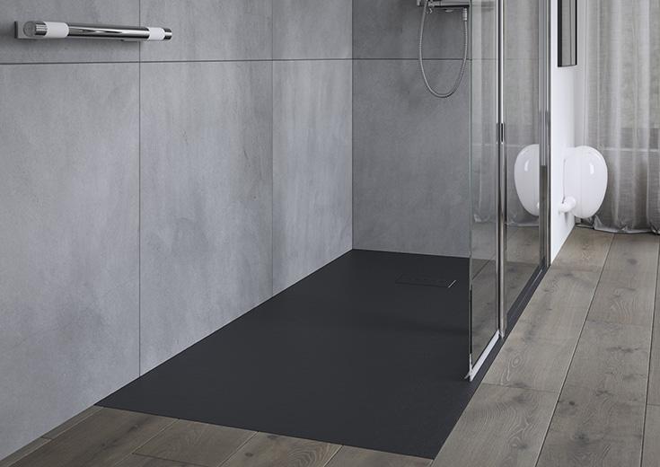 matte black one level shower base | Innovate Building Solutions | #ShowerBase #MatteBlackShowerPan #BlackShowerbase #onelevelshower