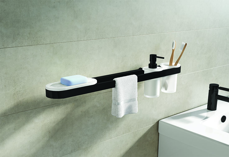 Bath and Round Towel Bar MATTE BACK | Innovate Building Solutions | #TowelRack #BathroomAccessories #SoupHolder