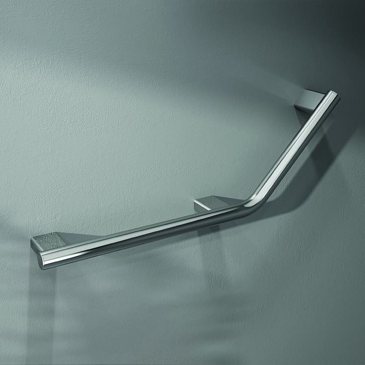 Chrome over brass 135 degree contemporary grab bar | Innovate Building Solutions | #GrabBar #ContemporaryGrabBar #BathroomRemodel #HandicapAccessibleShower