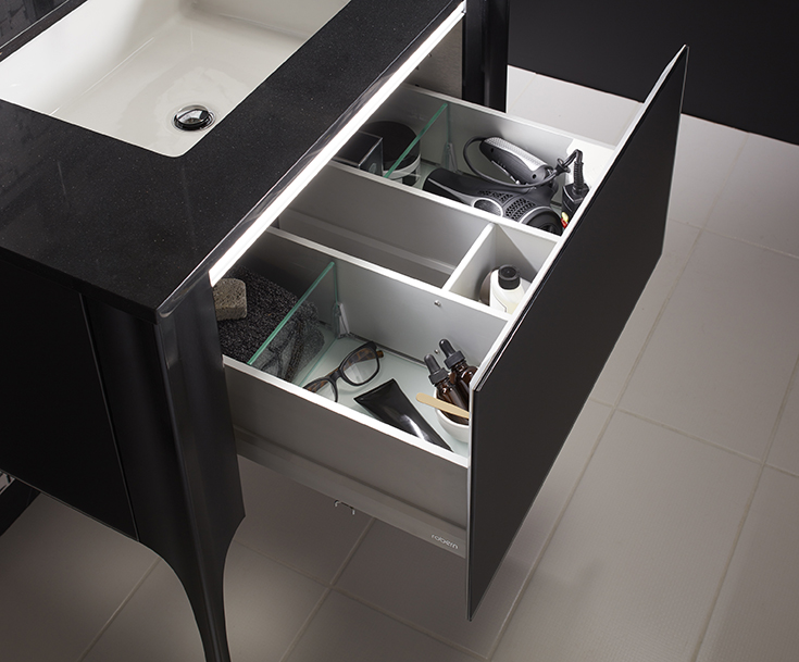 Contemporary vanity with a pull out drawer for your blow drier | Innovate Building Solutions  | #ContemporaryVanity #BathroomRemodel #VanityTop