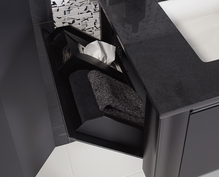 Fold down vanity drawer for towel and kleenex storage | Innovate Building Solutions | #FoldDownVanity #Vanity #BathroomVanity #TowelDrawer