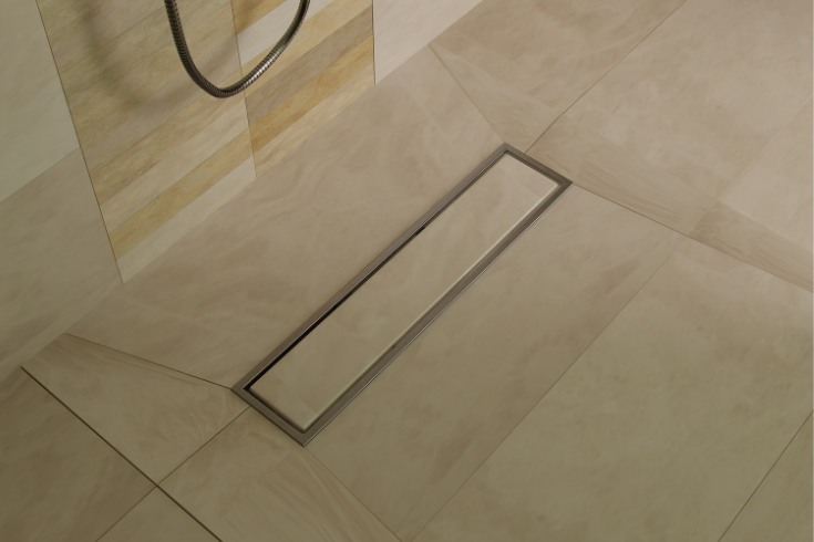 Linear drain for shower simplicity | Innovate Building Solutions | #linearDrain #showerdrain #SimpleDesign