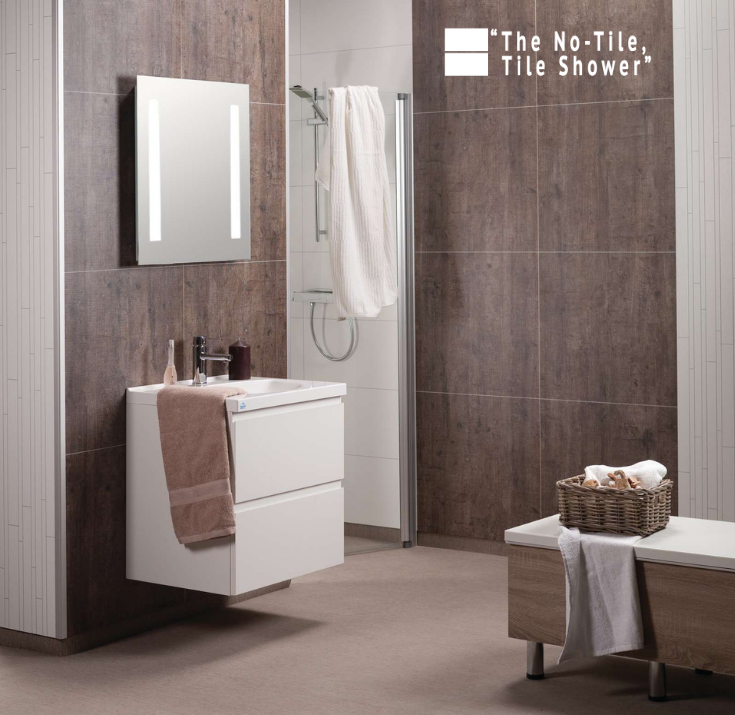 Rough wood laminate bathroom and shower wall panels | Innovate Building Solutions | #Laminatewallpanels #BathroomShower #WallPanels