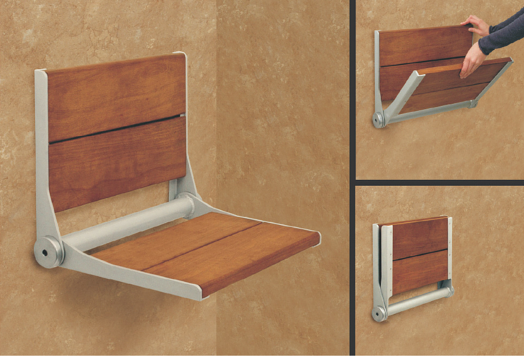 Teak fold down seat with brushed nickel finish | Innovate Building Solutions | #folddownseat #bathroomseating #bushedNickel