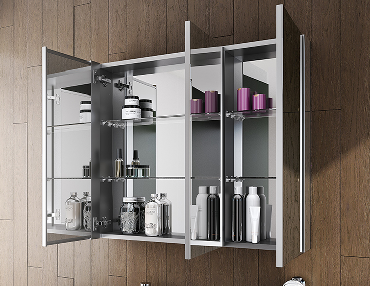 Triple door mirrored medicine cabinet defogger contemporary home | Innovate Building Solutions | #TripleDoorMirror #MedicineCabinet #DefoggerMirror
