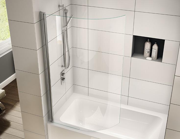 Curved glass tub screen for a kids hall bathroom | Innovate Building Solutions | #CurvedGlass #BathroomRemodel #Bathtub #KidsBathroom