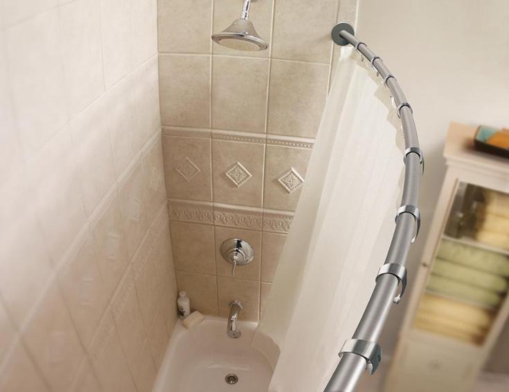 curved shower rod by Moen moen.com | Innovate Building Solutions  | #CurvedShowerRod #ShowerBathroom #bathroomremodel