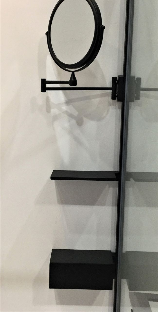 matte black mens shower shaving mirror | Innovate Building Solutions | KBIS | #MatteBlack #Mirror #ShowerMirror