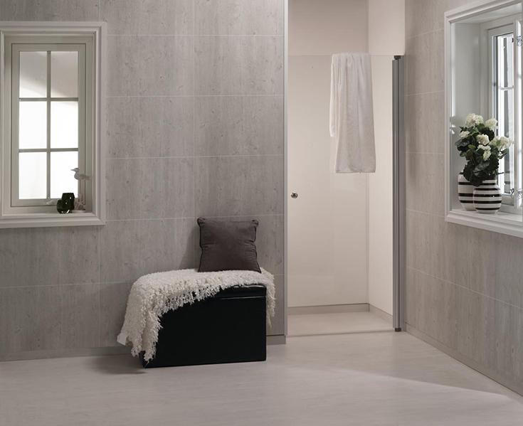 Avalon Pine M6040 laminate shower wall panels | Innovate Building Solutions | #Laminatewallpanels #AvalonPine #ShowerSystem #ShowerWallPanels