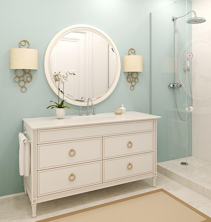 Light blue green bathroom | Innovate Building Solutions | #BathroomColor #BlueBathroom #LightBlueBathroom #BathroomRemodel