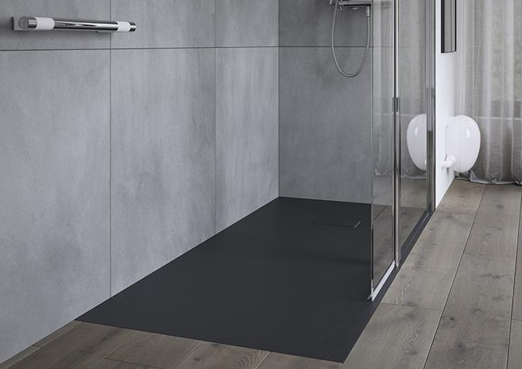 design approach 3 matte black one level shower base | Innovate building solutions | #ShowerDesign #OneLevelShower #MatteBlackShower