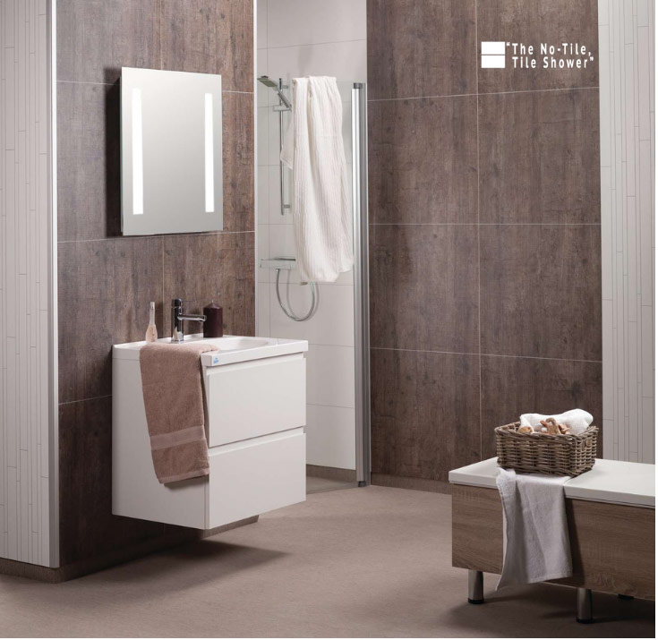 Laminate shower wall panels which won't discolor or fade | Innovate Building Solutions | #laminatewallpanels #Showerwallpanels #BathroomPanels