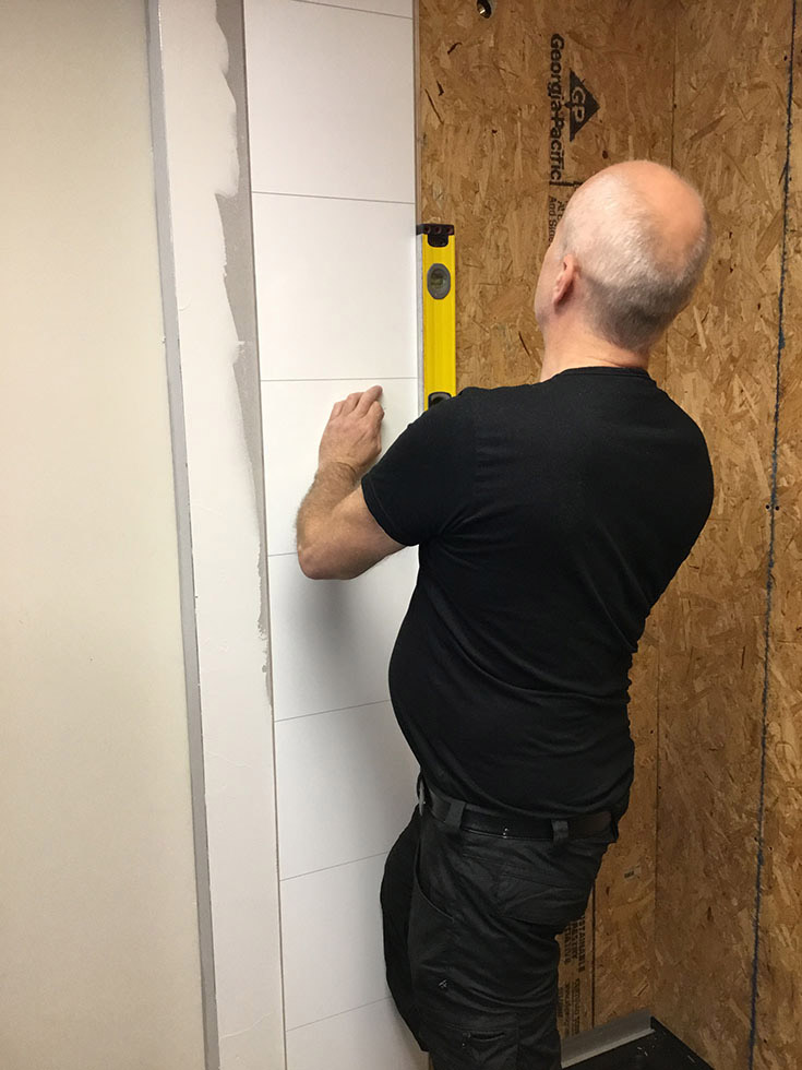 Remarkable installing laminate shower wall panels onto plywood | Innovate Building Solutions | #Laminatewallpanels #Showerwallpanels #Plywood #Installation