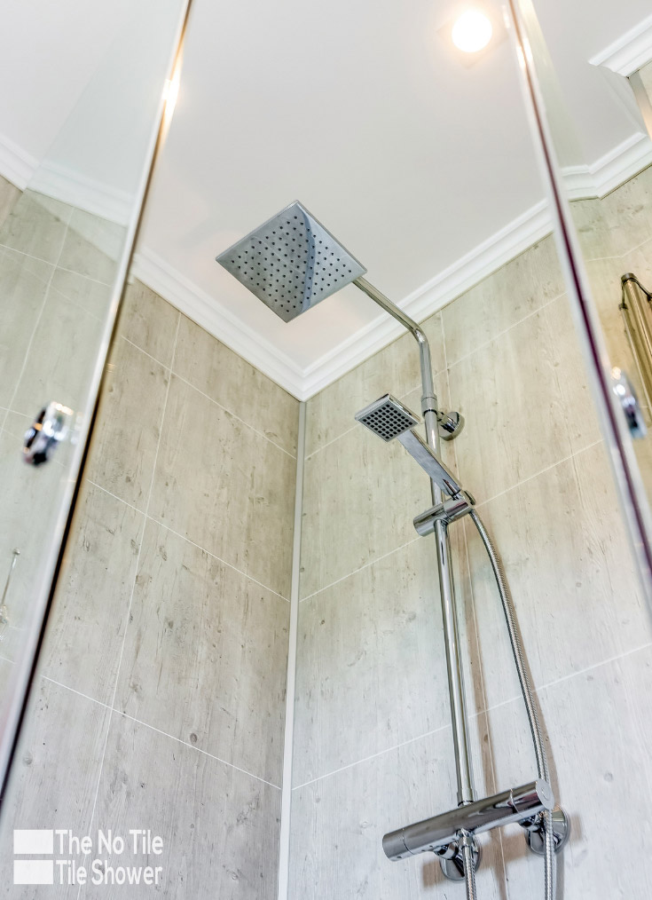 Remarkable thing laminate abby shale close up image of a shower | Innovate Building Solutions | #ShowerSystem #BathroomWallPanels #ShowerWallPanels