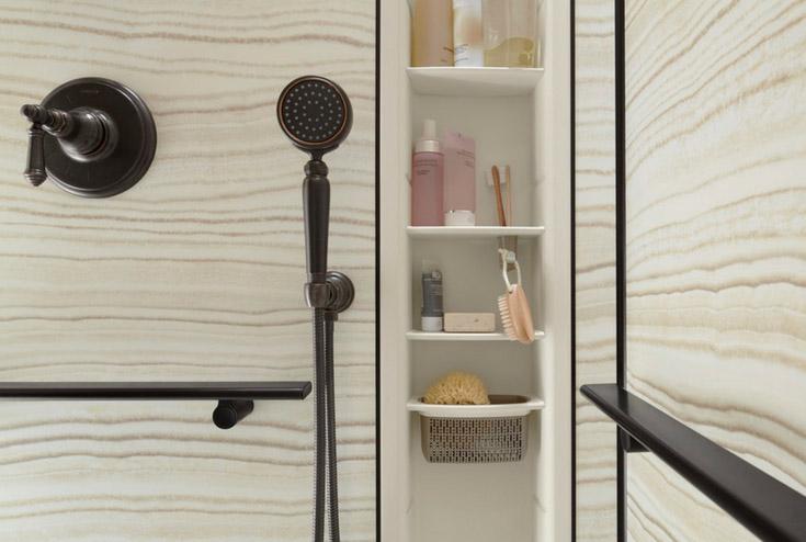 Kohler chroreograph shower locker   Innovate Building Solutions   #KohlerChroreograph #ShowerSystem #Walkinshower