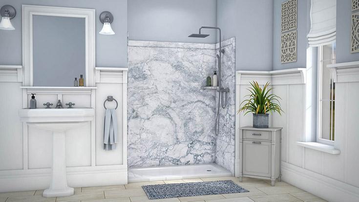 marbleized pvc shower wall panels   Innovate Building Solutions   #Marbleized #Wallpanels #MarbleLook #FauxMarble