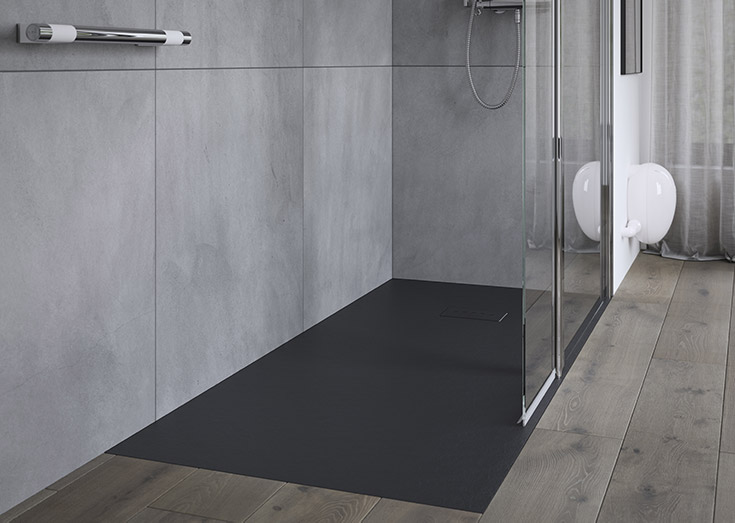 Grout less barrier free one level matte block shower pan | Innovate Building Solutions | #RollInShower #OneLevelShower #HandicapShower
