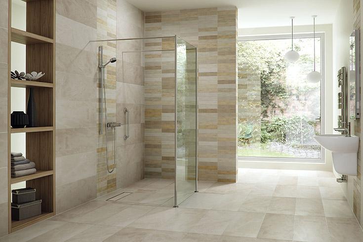 one level wet room system with tile_ | Innovate Building Solutions | #OneLevelWetRoom #ShowerSystem #TileShower