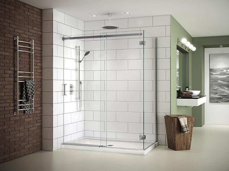 Contemporary bypass sliding glass door in a corner shower | Innovate Building Solutions | #SlidingDoor #GlassDoor #CornerShower