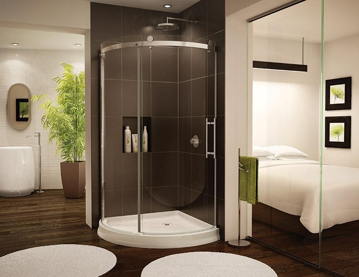 arced shower base and glass with sliding glass doors | Innovate Building Solutions | #GlassShowerDoor #GlassDoor #CurvedGlassDoor