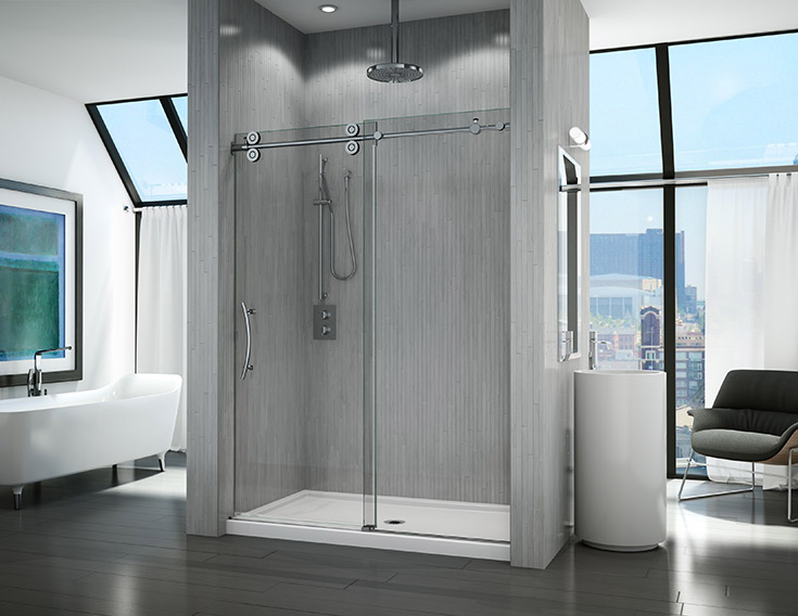frameless glass shower with thick glass and a roller system | Innovate Building Solutions | #FrameGlassDoor #GlassDoor #ShowerDoor