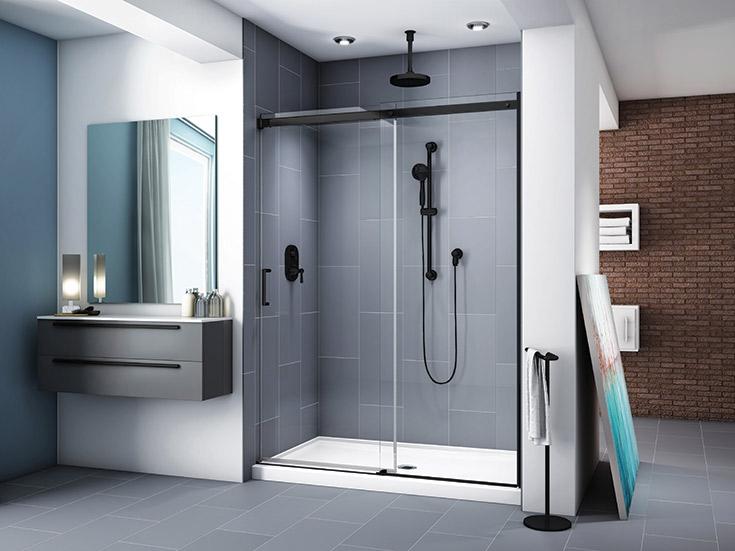 in line semi frameless matte black sliding shower door system | Innovate Building Solutions | #SemiFrameless #GlassDoor #FramlessDoor