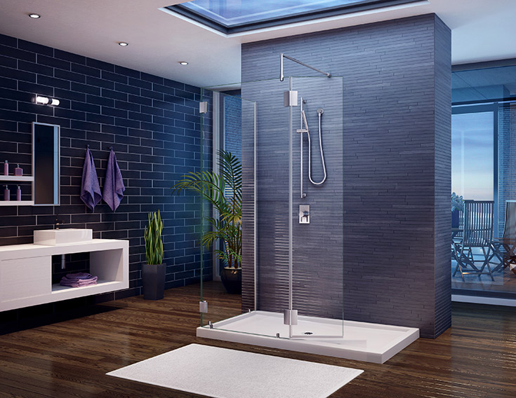 walk in shower to convert a custom to a standard glass system | Innovate Building Solutions | #GlassDoor #ShowerDoor #WalkInShower