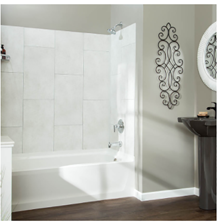 Dumawall in a vertical tile pattern around a tub credit www.dumawall-us.com | #WallPanels #Tile #ShowerTile #NoGrout
