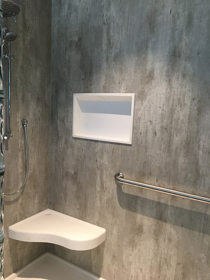 cracked cement laminate shower wall panels | Innovate Building Solutions | #CrackedCement #WallPanels #LamianteWallPanels #ShowerPanels