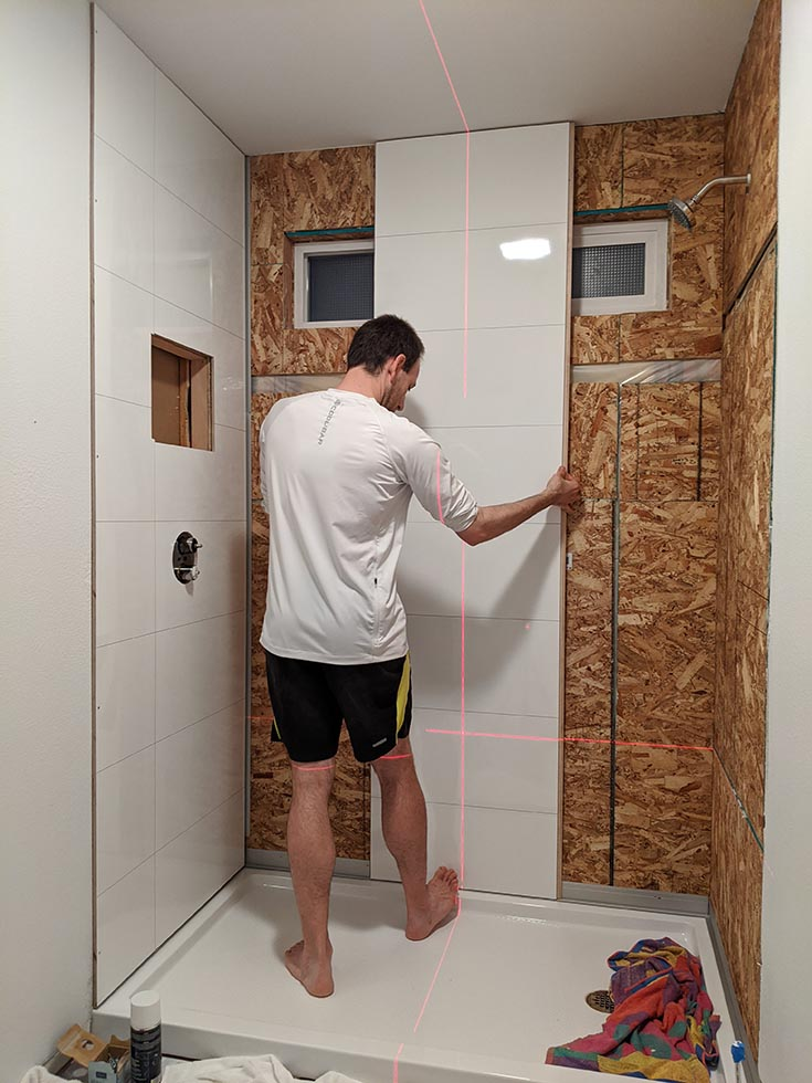 fibo diy laminate panels much less seams Dumawal faux tiles | Innovate Building Solutions | #WallPanels #LaminateWallPanels #ShowerInstall #FiboInstall