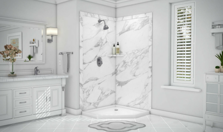 marble look PVC shower wall panels | Innovate Building Solutions | #PVCPanels #Showerwallpanels #MarbleLook #MarbleShower