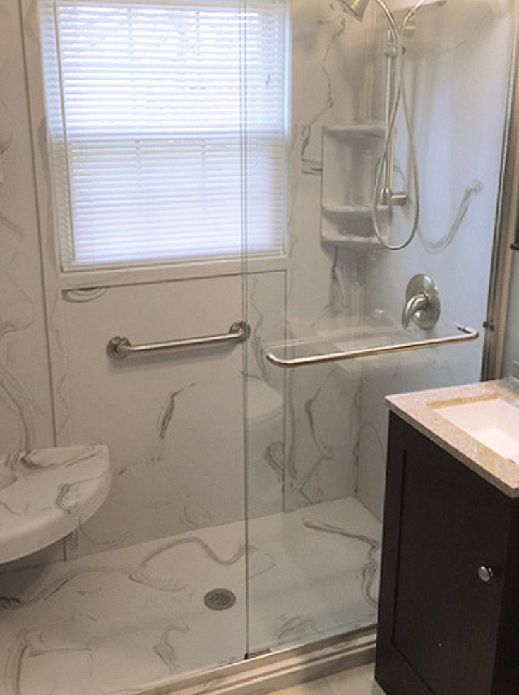 matching cultured marble shower pan and wall panels | Innovate Building Solutions | #CulturedStone #Stonebase #ShowerPan