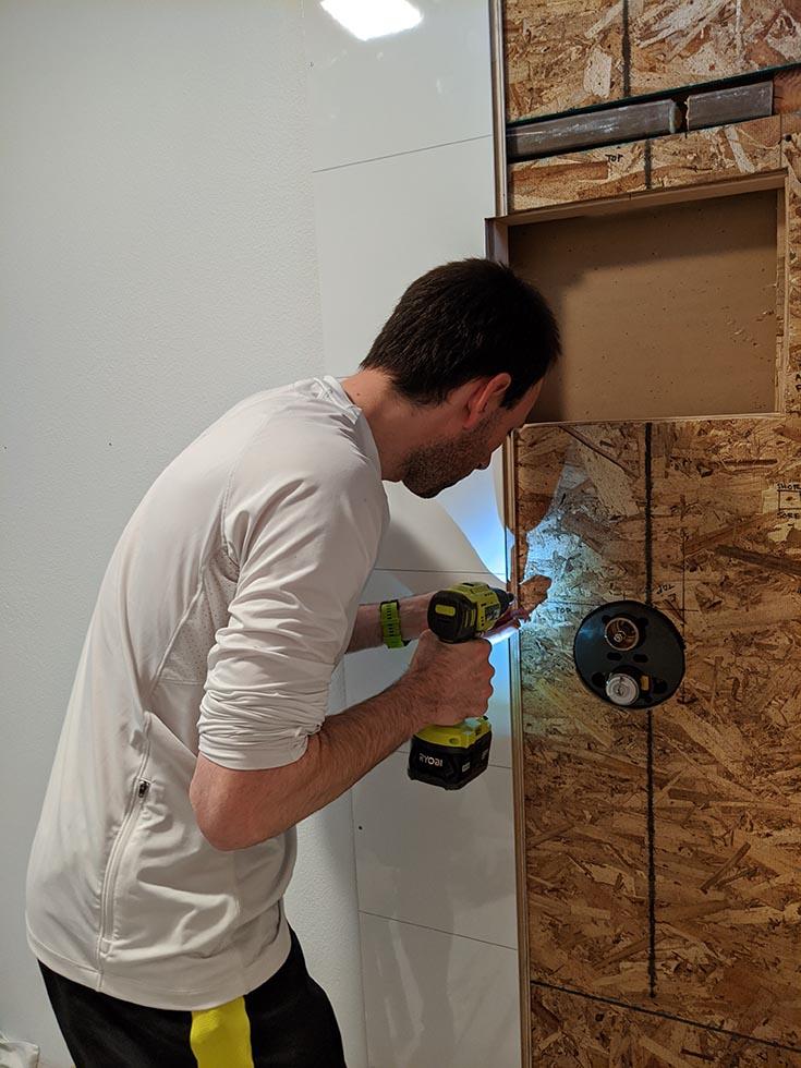 tongue groove laminate wall panels installed DIY | Innovate Building Solutions | #LaminateWallPanel #Installation #InstallInstruction