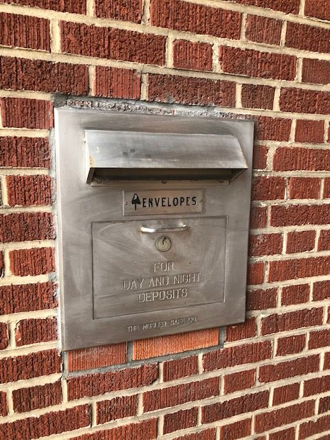 Functional night depository for wedding envelopes at The Bank East Aurora New York | Innovate Building Solutions