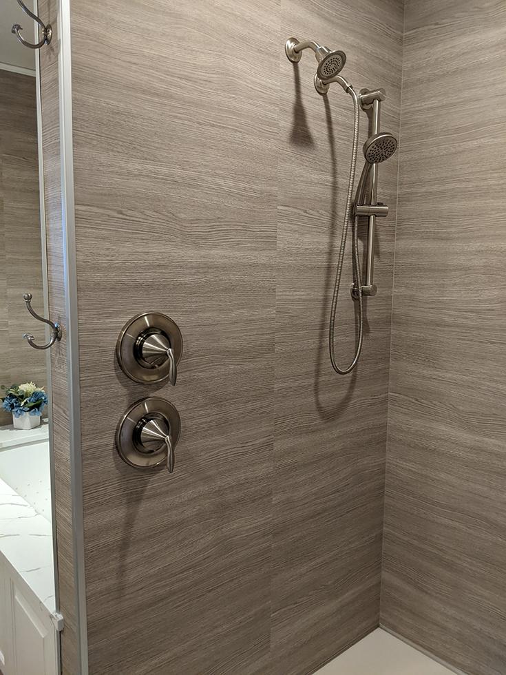 marina gray oak laminate shower surround panels | Innovate Building Solutions | #LaminateWallpanels #ShowerSurround #MarianaOak