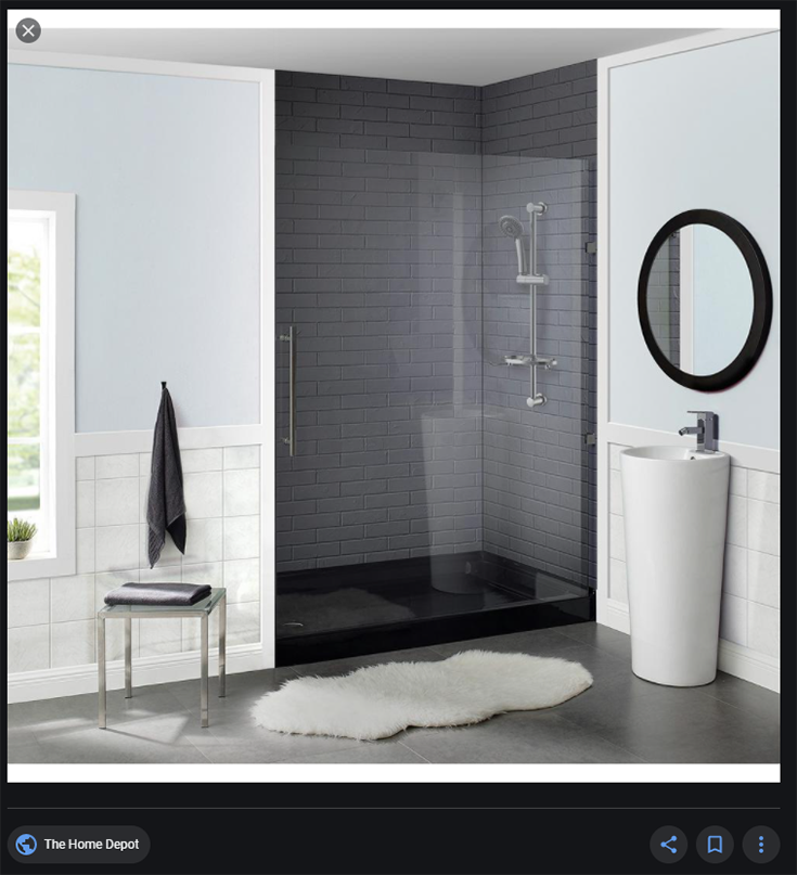 black acrylic shower pan credit www.homedepot.com | Innovate building solutions | Innovate Building Solutions | #Acrylic #ShowerPan #BlackShowerBase