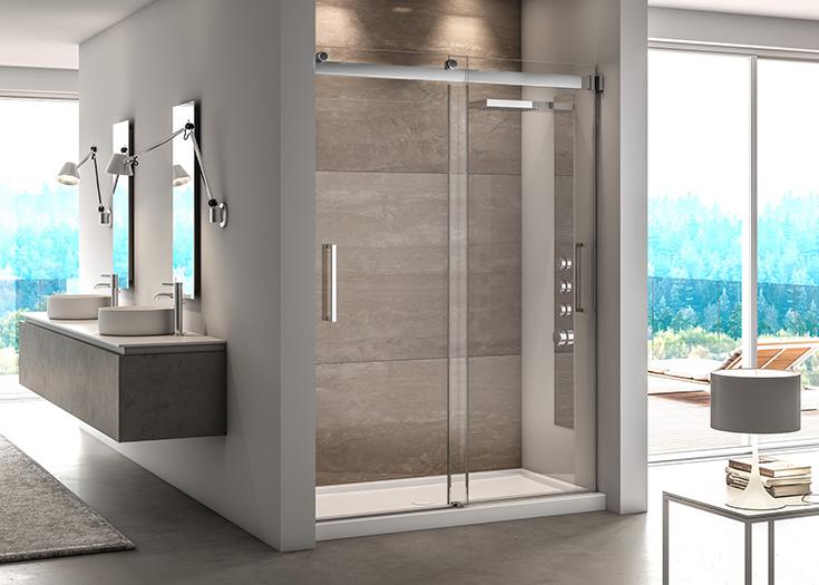Factor 1 sliding bypass frameless shower door | Innovate Building Solutions | #slidingdoor #glassdoor #bathroom #Framelessshower