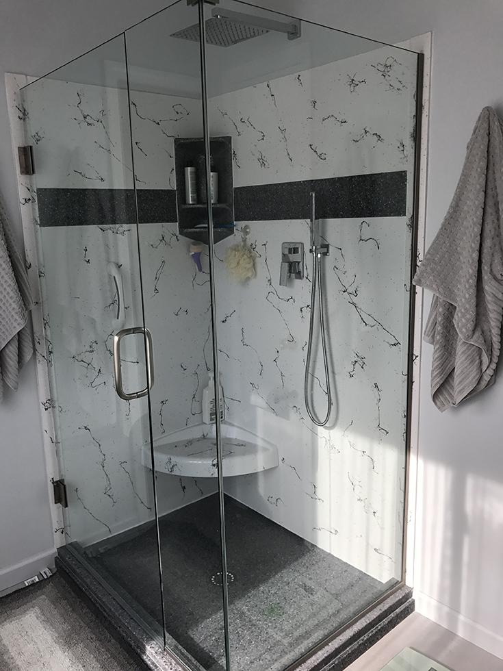 Factor 1 sturdy cultured granite custom shower pan | Innovate Building Solutions #ShowerPan #ShowerBase #CulturedGranite