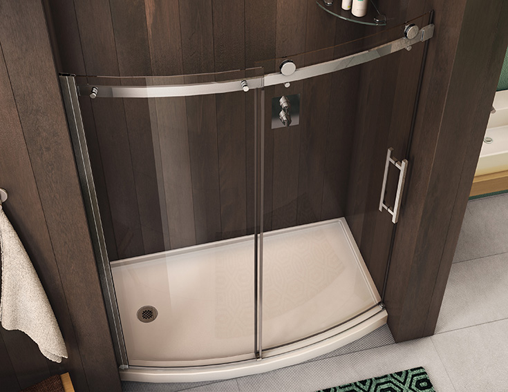 Factor 4 curved sliding glass shower door for a roomy tub to shower conversion | Innovate Building Solutions | #framelessdoor #Glassdoor #ShowerDoor #Glass