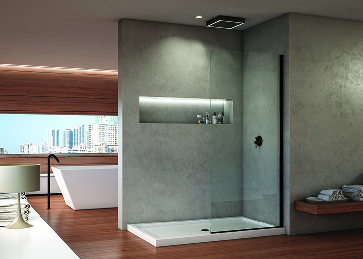 Factor 7 fixed glass walk in shower in a contemporary home | Innovate Building Solutions | #ContemporaryHome #showerdoor #glassdoor