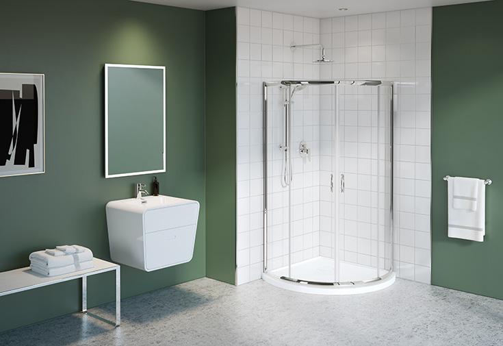 Factor 9 sliding 36 inch sliding glass door corner shower | Innovate Building Solutions | #Slidingdoor #Showerdoor #glassdoor #bathroomremodel