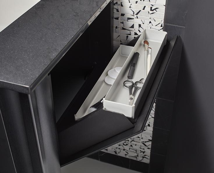 small bathroom idea 11 side storage in a small bathroom vanity | Innovate Building Solutions | #SideStorage #VanityStorage #SecretStorage
