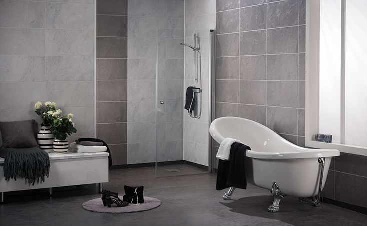 FAQ 5 textured stone laminate shower wall panels in a contemporary bathroom | Innovate Building Solutions | #ContemporaryBathroom #BathroomRemodel #WetRoom
